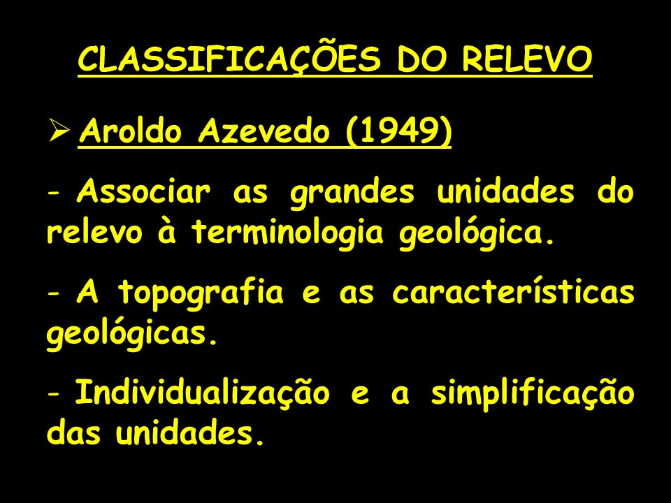 CLASSIFICAÇÕES DO RELEVO