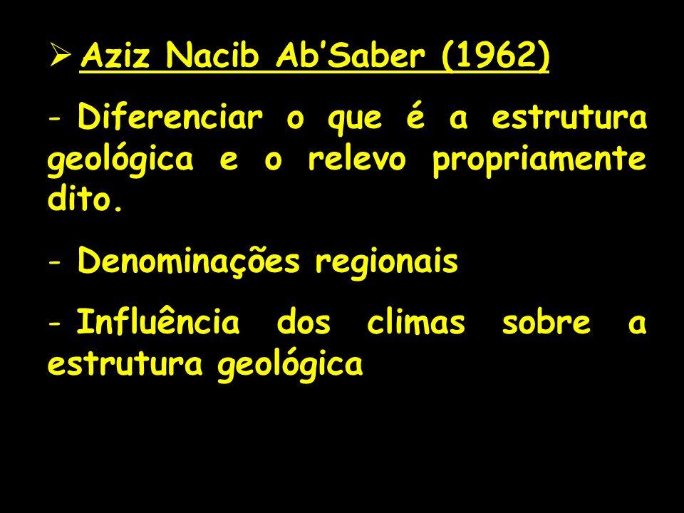 Aziz Nacib Ab'Saber (1962) Diferenciar o que é a estrutura geológica e o relevo propriamente dito. Denominações regionais.