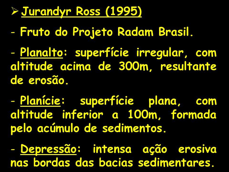 Jurandyr Ross (1995) Fruto do Projeto Radam Brasil. Planalto: superfície irregular, com altitude acima de 300m, resultante de erosão.