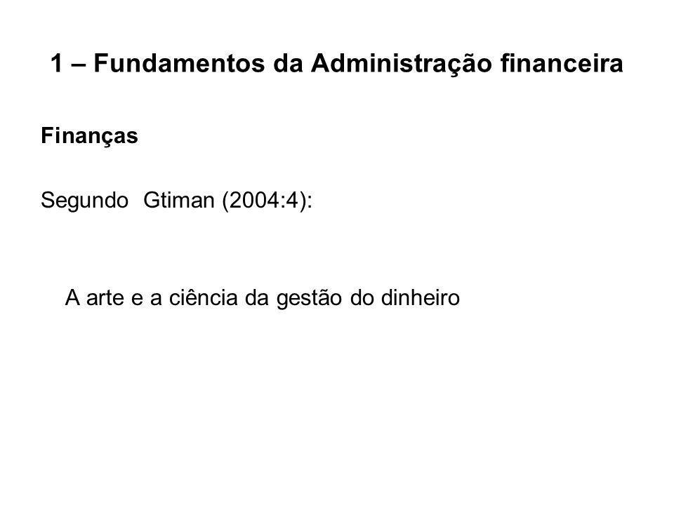 1 – Fundamentos da Administração financeira