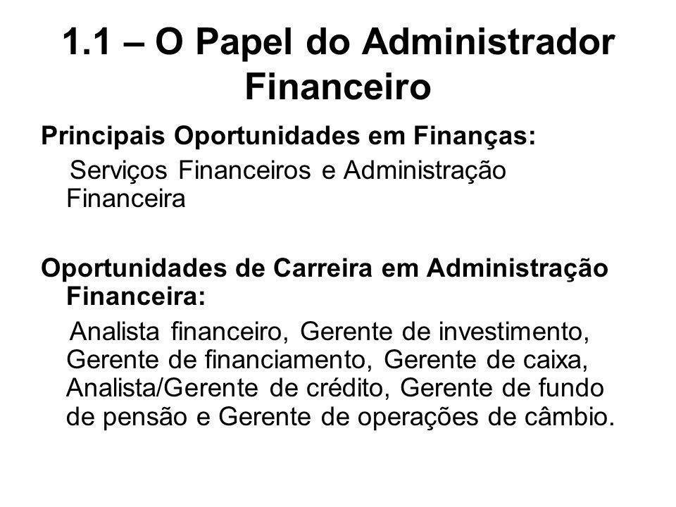 1.1 – O Papel do Administrador Financeiro