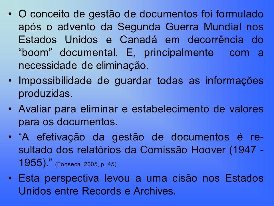 O conceito de gestão de documentos foi formulado após o advento da Segunda Guerra Mundial nos Estados Unidos e Canadá em decorrência do boom documental. E, principalmente com a necessidade de eliminação.