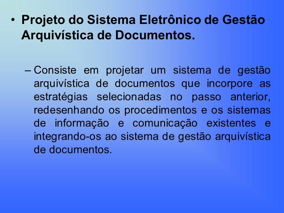 Projeto do Sistema Eletrônico de Gestão Arquivística de Documentos.