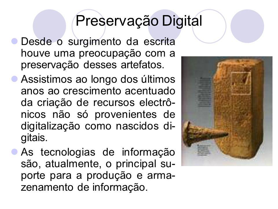 Preservação Digital Desde o surgimento da escrita houve uma preocupação com a preservação desses artefatos.