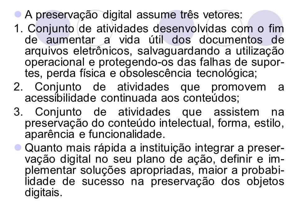 A preservação digital assume três vetores: