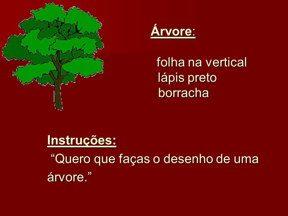 Árvore: folha na vertical. lápis preto. borracha.