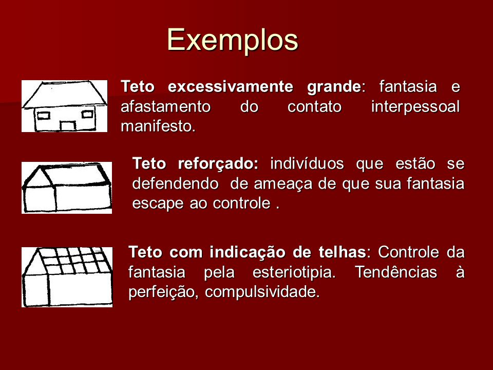 Exemplos Teto excessivamente grande: fantasia e afastamento do contato interpessoal manifesto.