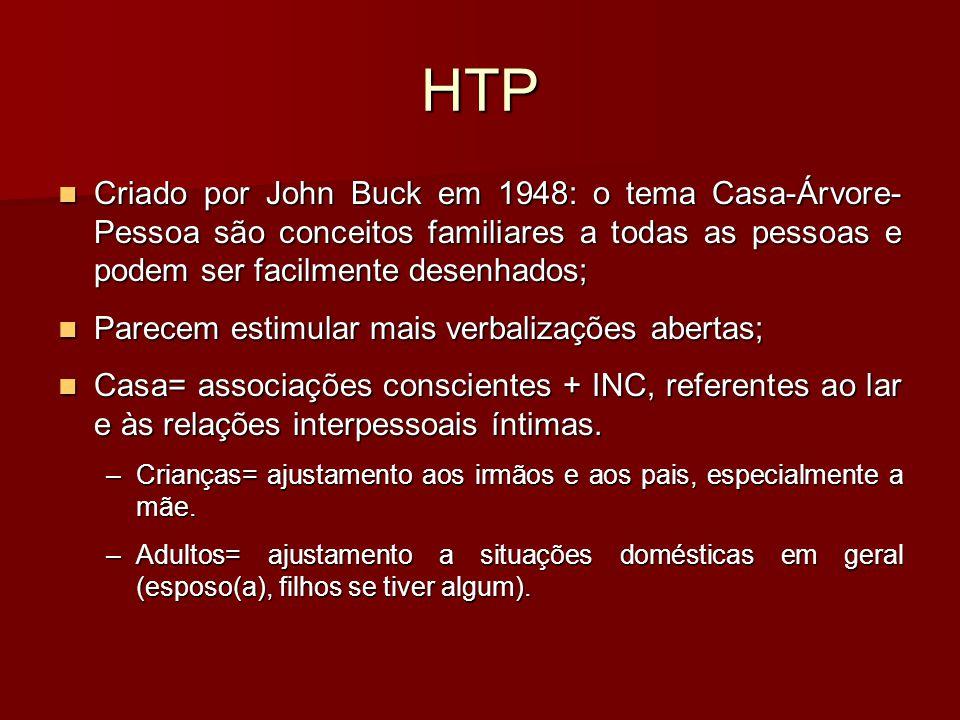 HTP Criado por John Buck em 1948: o tema Casa-Árvore-Pessoa são conceitos familiares a todas as pessoas e podem ser facilmente desenhados;