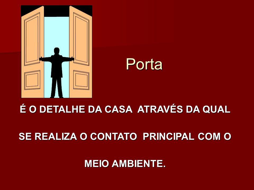 Porta É O DETALHE DA CASA ATRAVÉS DA QUAL SE REALIZA O CONTATO PRINCIPAL COM O MEIO AMBIENTE.