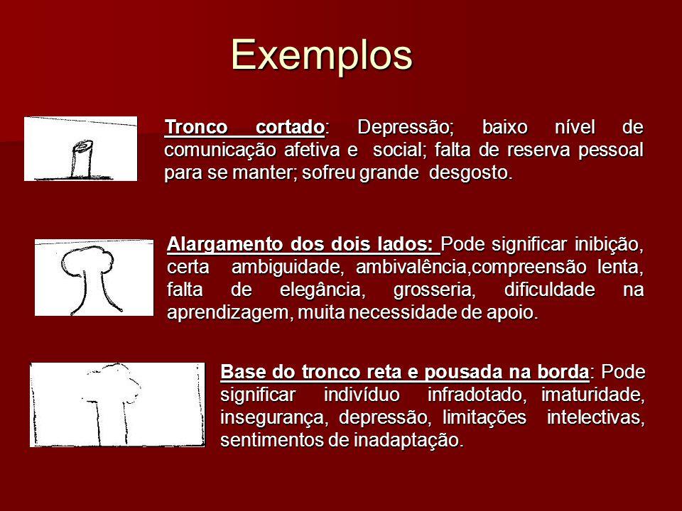 Exemplos Tronco cortado: Depressão; baixo nível de comunicação afetiva e social; falta de reserva pessoal para se manter; sofreu grande desgosto.