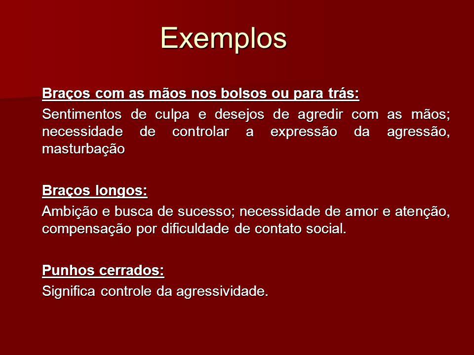 Exemplos Braços com as mãos nos bolsos ou para trás: