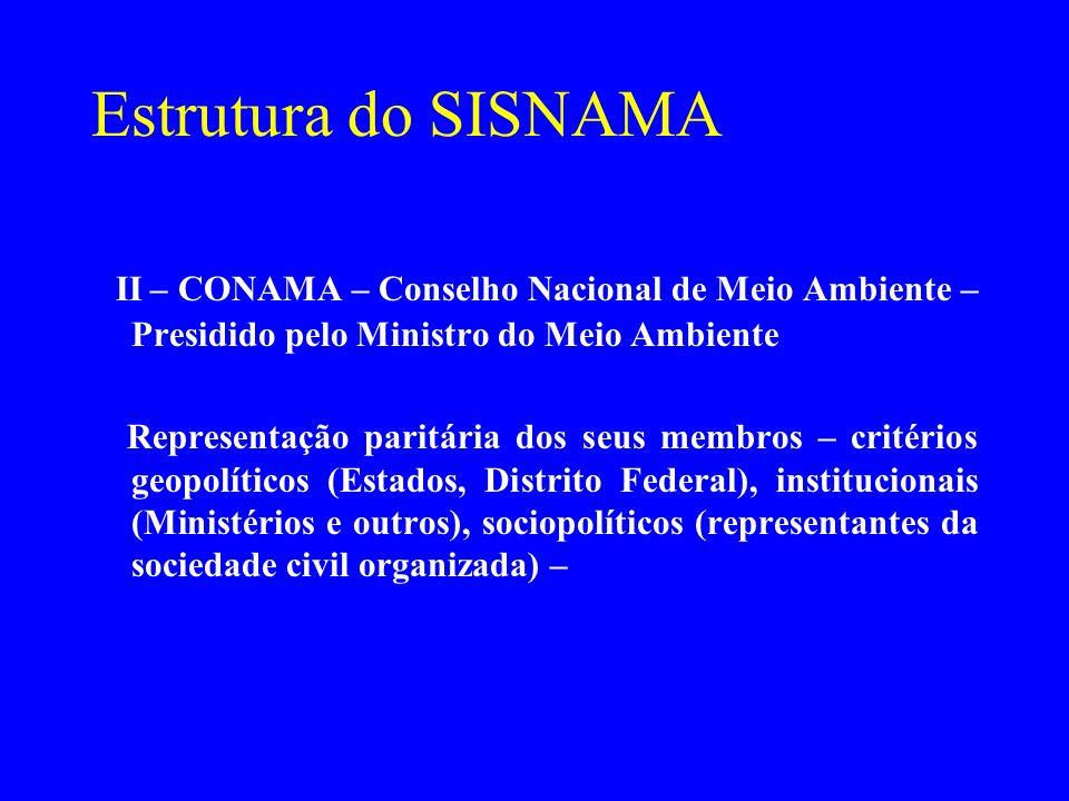 Estrutura do SISNAMA II – CONAMA – Conselho Nacional de Meio Ambiente – Presidido pelo Ministro do Meio Ambiente.