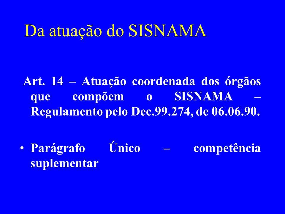 Da atuação do SISNAMA Art. 14 – Atuação coordenada dos órgãos que compõem o SISNAMA – Regulamento pelo Dec.99.274, de 06.06.90.
