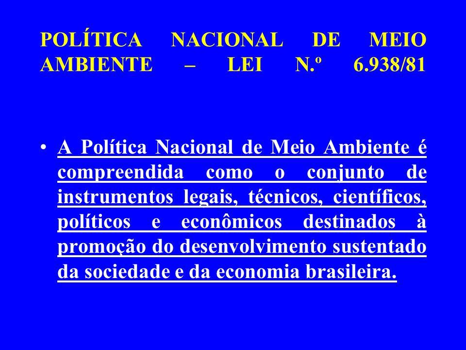 POLÍTICA NACIONAL DE MEIO AMBIENTE – LEI N.º 6.938/81