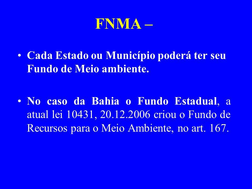 FNMA – Cada Estado ou Município poderá ter seu Fundo de Meio ambiente.