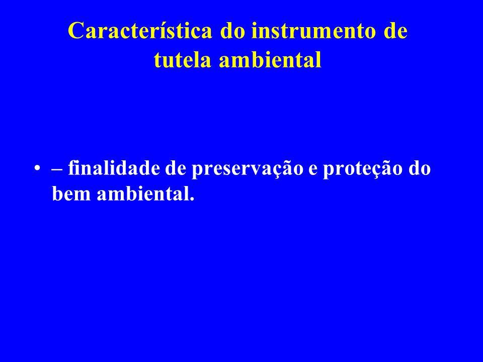Característica do instrumento de tutela ambiental