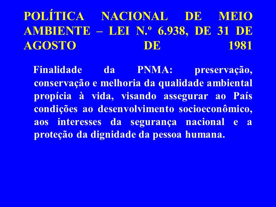 POLÍTICA NACIONAL DE MEIO AMBIENTE – LEI N. º 6
