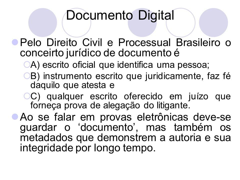 Documento Digital Pelo Direito Civil e Processual Brasileiro o conceirto jurídico de documento é. A) escrito oficial que identifica uma pessoa;