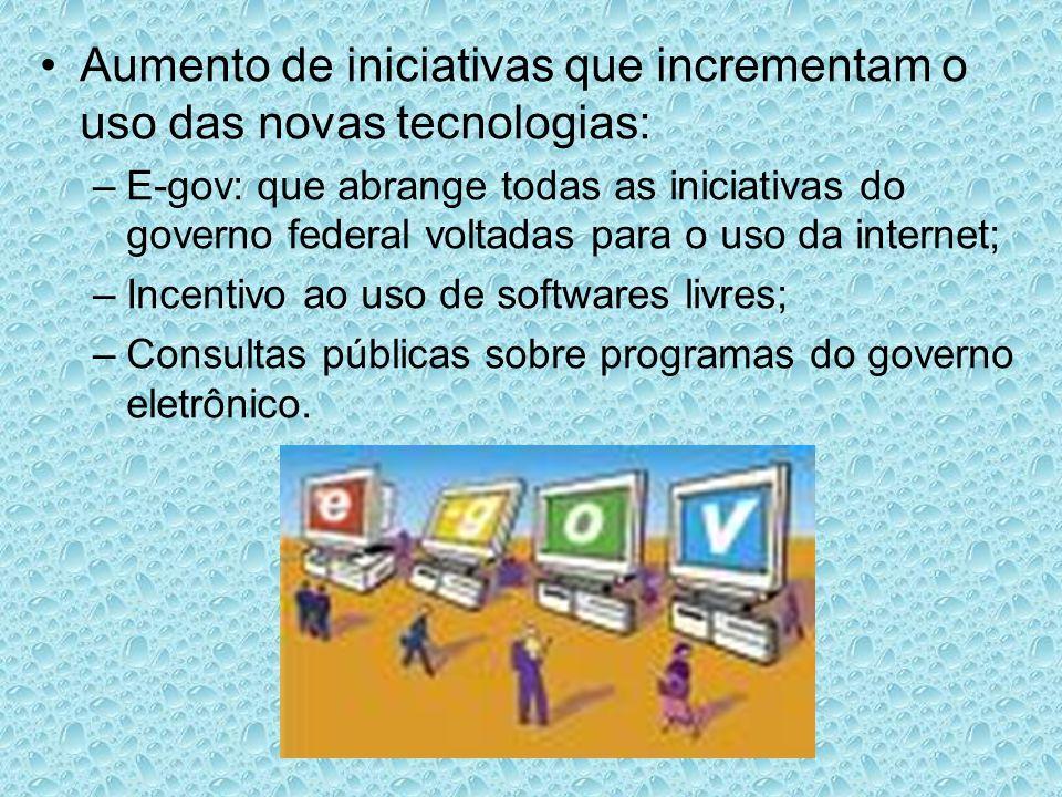 Aumento de iniciativas que incrementam o uso das novas tecnologias: