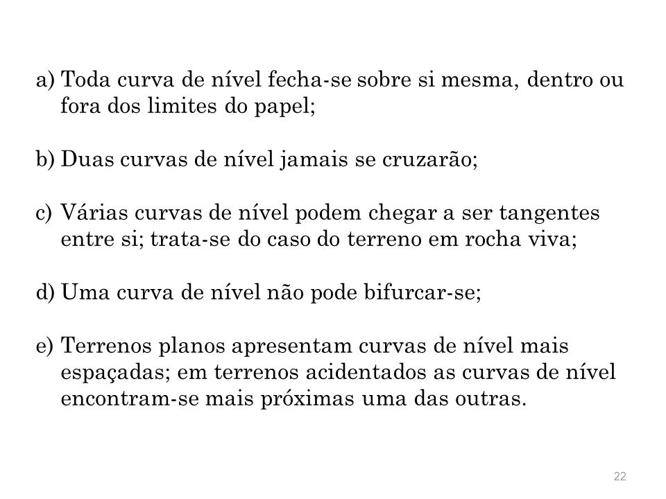 Toda curva de nível fecha-se sobre si mesma, dentro ou fora dos limites do papel;