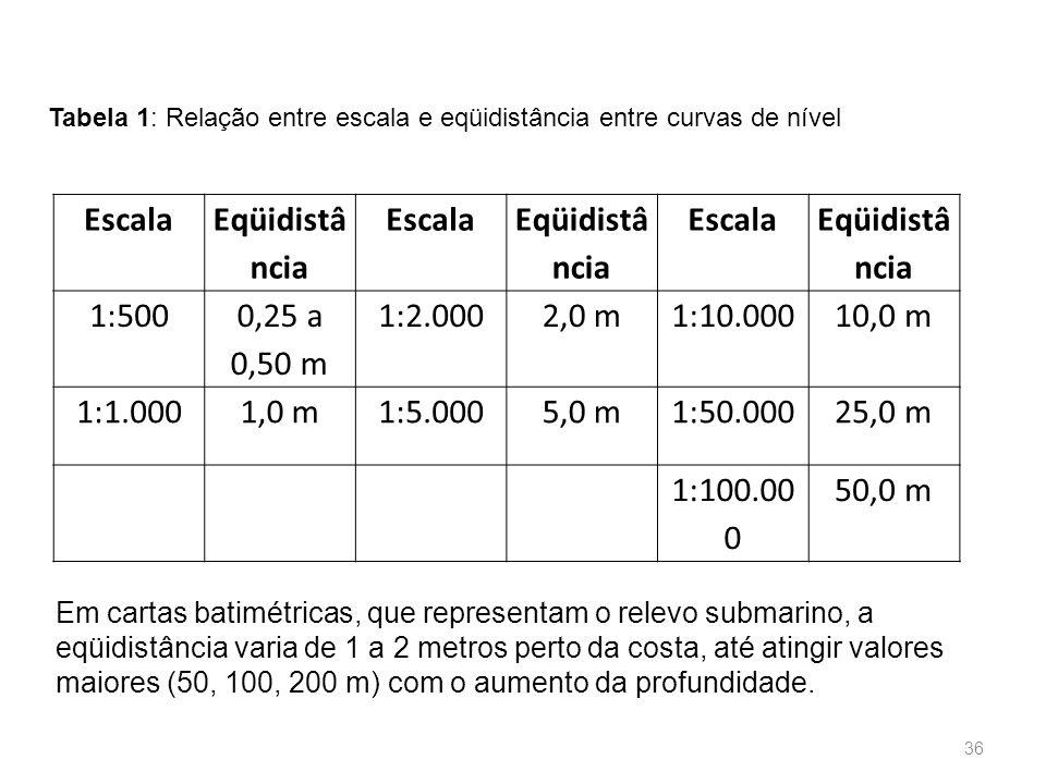 Escala Eqüidistâ ncia 1:500 0,25 a 0,50 m 1:2.000 2,0 m 1:10.000