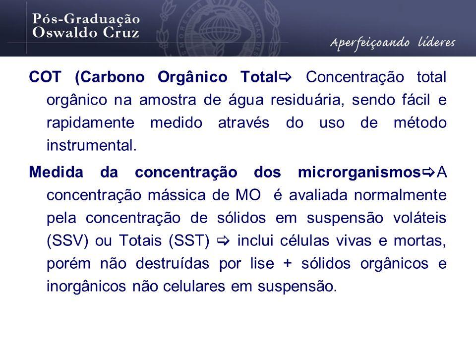 COT (Carbono Orgânico Total Concentração total orgânico na amostra de água residuária, sendo fácil e rapidamente medido através do uso de método instrumental.