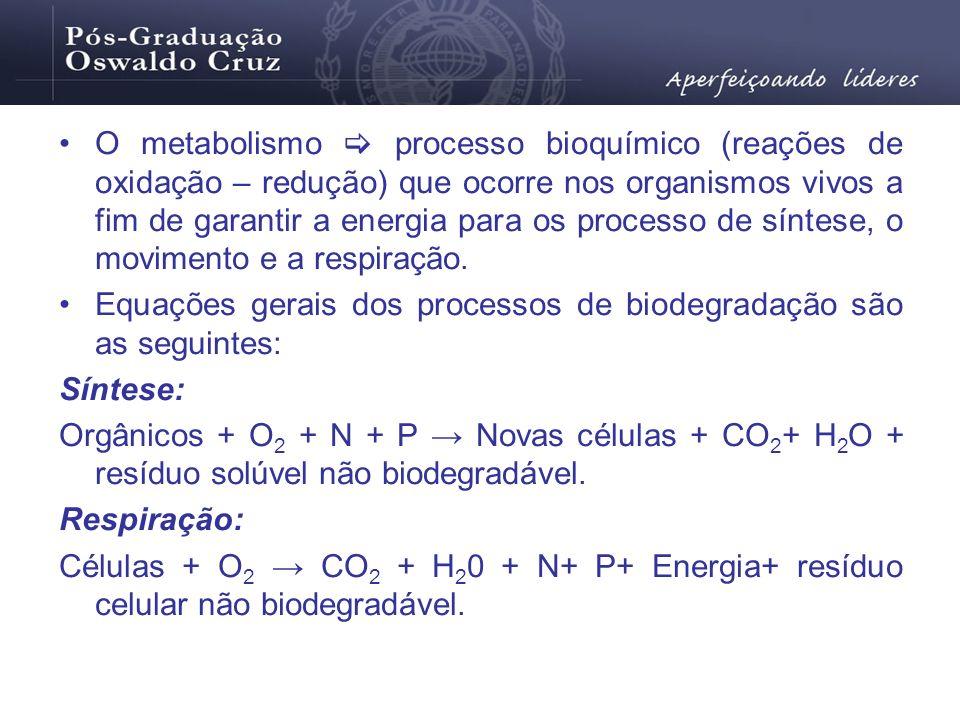 O metabolismo  processo bioquímico (reações de oxidação – redução) que ocorre nos organismos vivos a fim de garantir a energia para os processo de síntese, o movimento e a respiração.