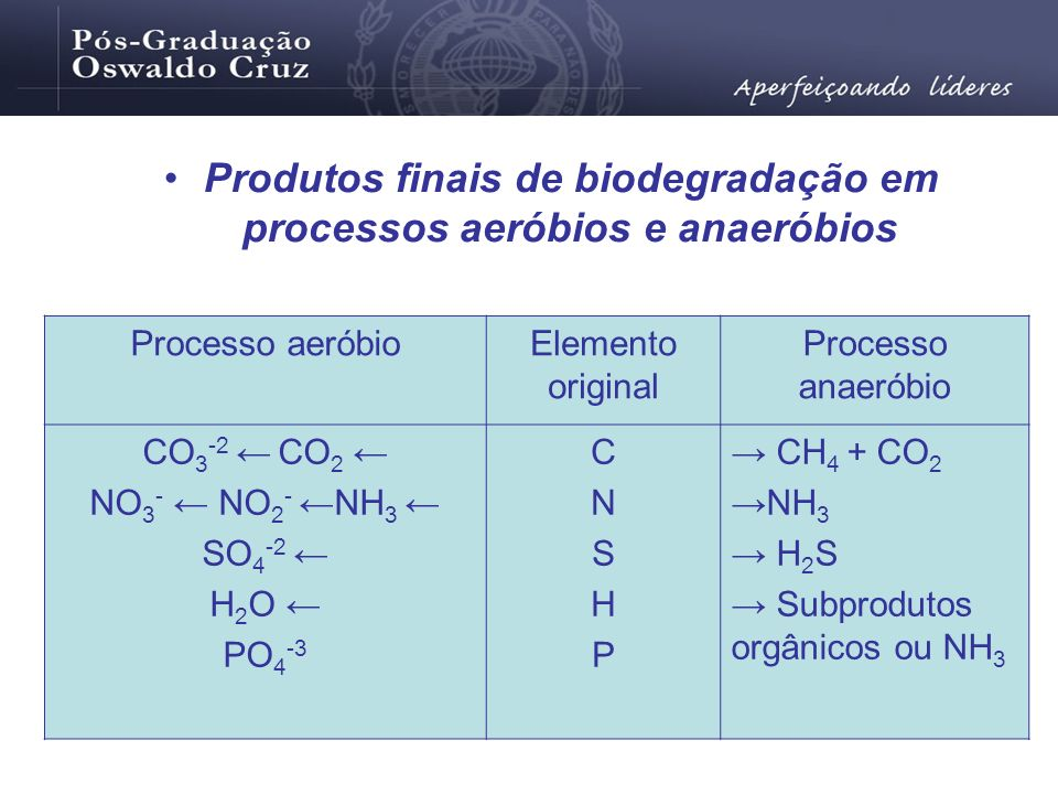 Produtos finais de biodegradação em processos aeróbios e anaeróbios