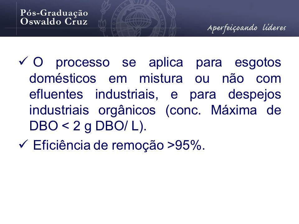O processo se aplica para esgotos domésticos em mistura ou não com efluentes industriais, e para despejos industriais orgânicos (conc. Máxima de DBO < 2 g DBO/ L).