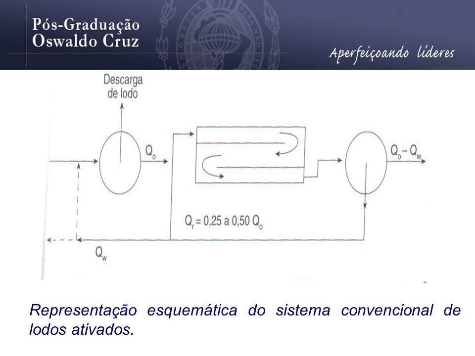 Representação esquemática do sistema convencional de lodos ativados.