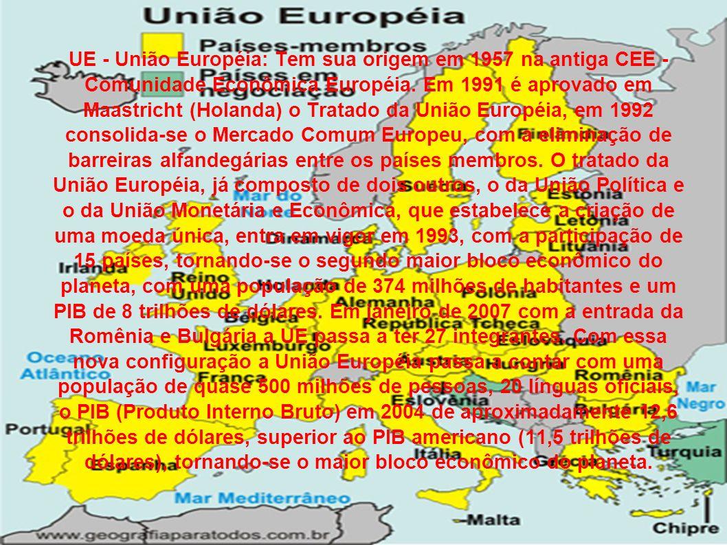 UE - União Européia: Tem sua origem em 1957 na antiga CEE - Comunidade Econômica Européia.