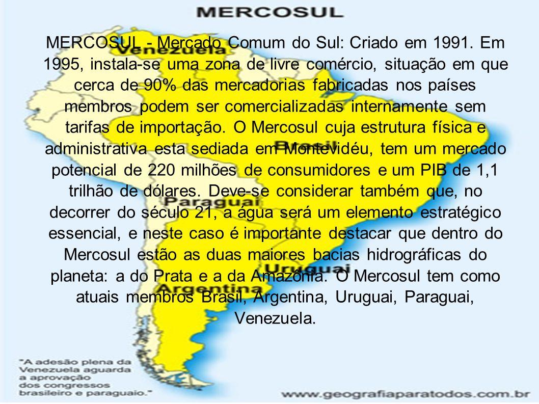 MERCOSUL - Mercado Comum do Sul: Criado em 1991