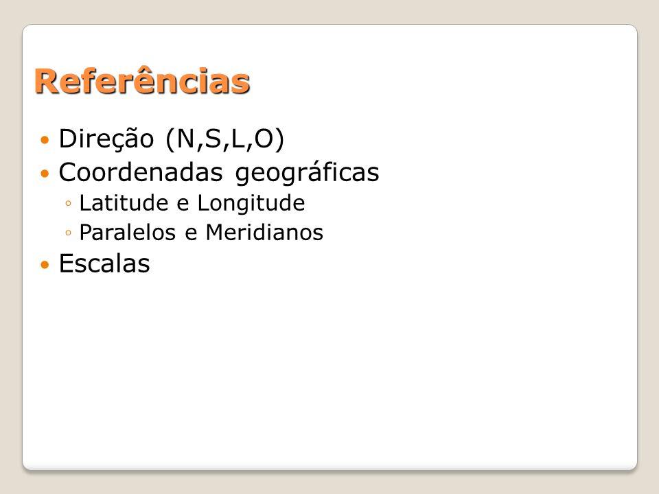 Referências Direção (N,S,L,O) Coordenadas geográficas Escalas