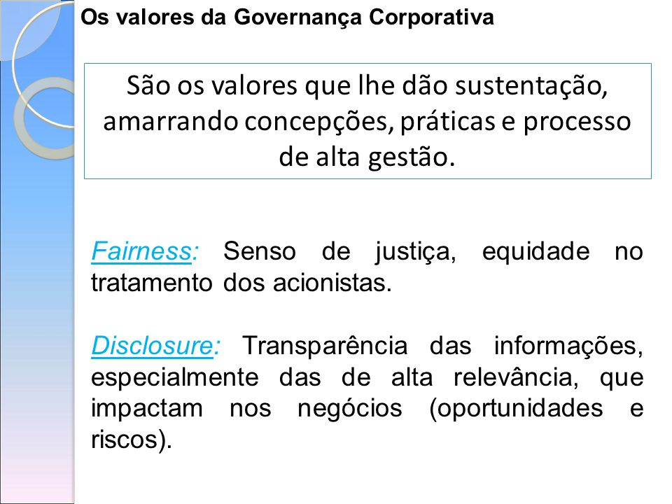 Os valores da Governança Corporativa