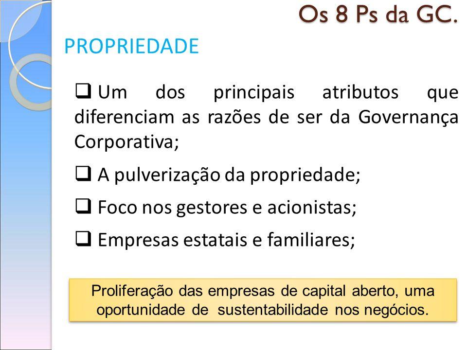 Os 8 Ps da GC. PROPRIEDADE. Um dos principais atributos que diferenciam as razões de ser da Governança Corporativa;