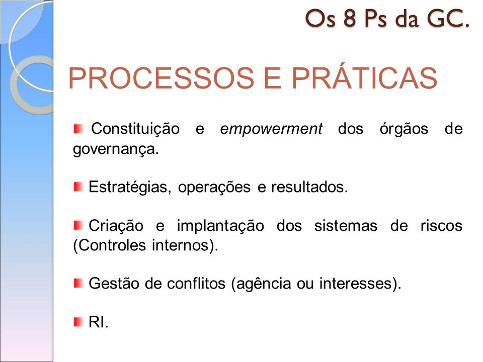 PROCESSOS E PRÁTICAS Os 8 Ps da GC.