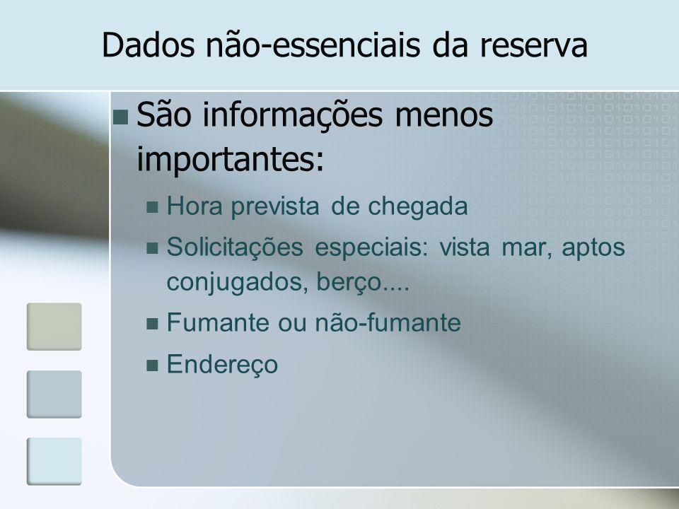 Dados não-essenciais da reserva