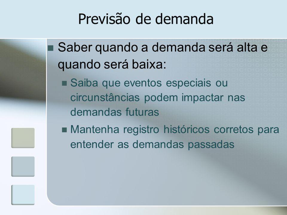 Previsão de demanda Saber quando a demanda será alta e quando será baixa:
