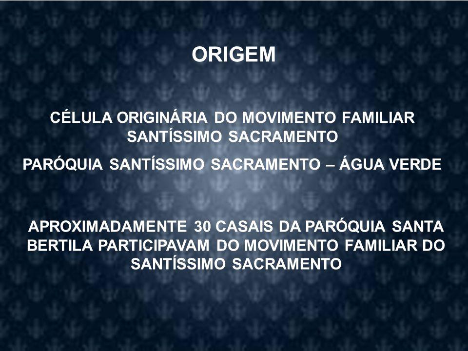 ORIGEM CÉLULA ORIGINÁRIA DO MOVIMENTO FAMILIAR SANTÍSSIMO SACRAMENTO
