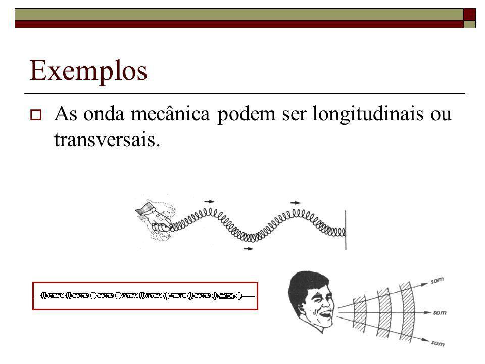 Exemplos As onda mecânica podem ser longitudinais ou transversais.