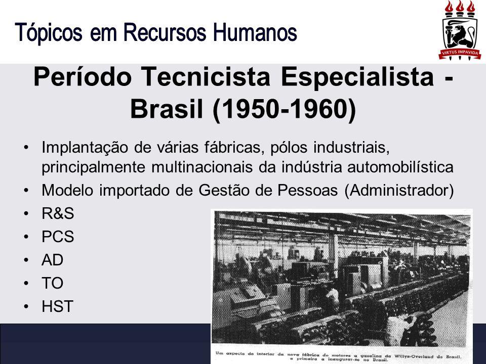 Período Tecnicista Especialista - Brasil (1950-1960)