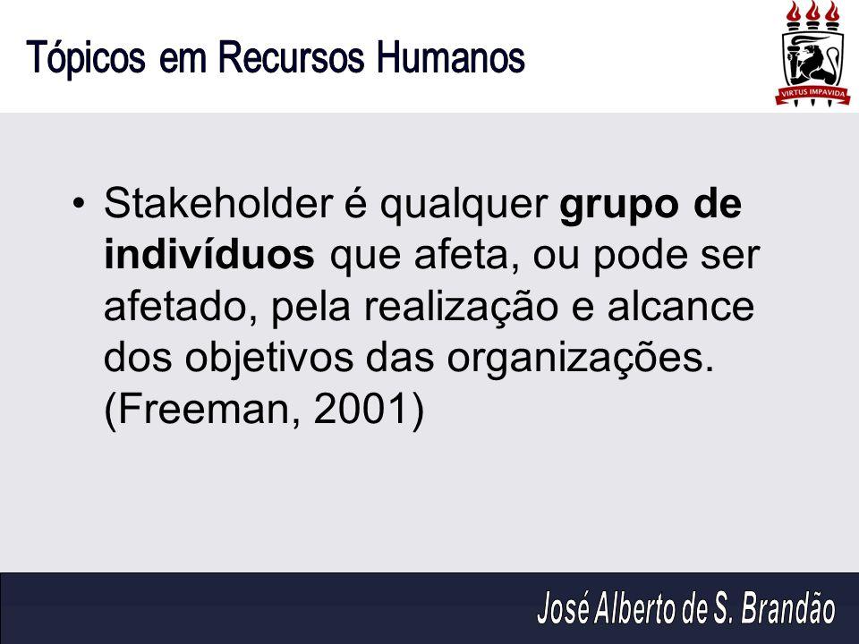 Stakeholder é qualquer grupo de indivíduos que afeta, ou pode ser afetado, pela realização e alcance dos objetivos das organizações.