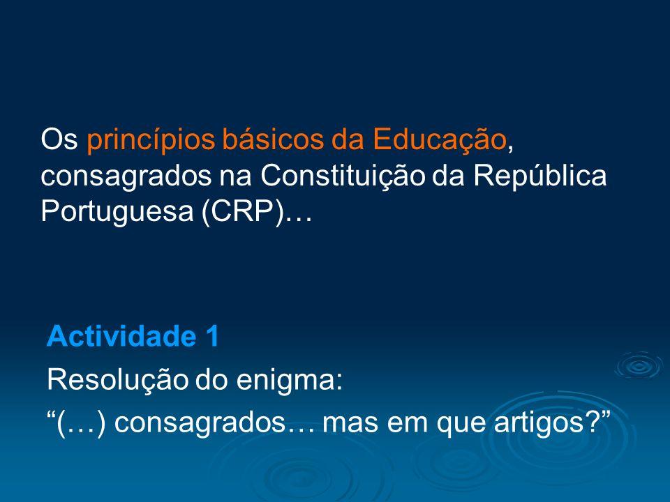 Os princípios básicos da Educação, consagrados na Constituição da República Portuguesa (CRP)…