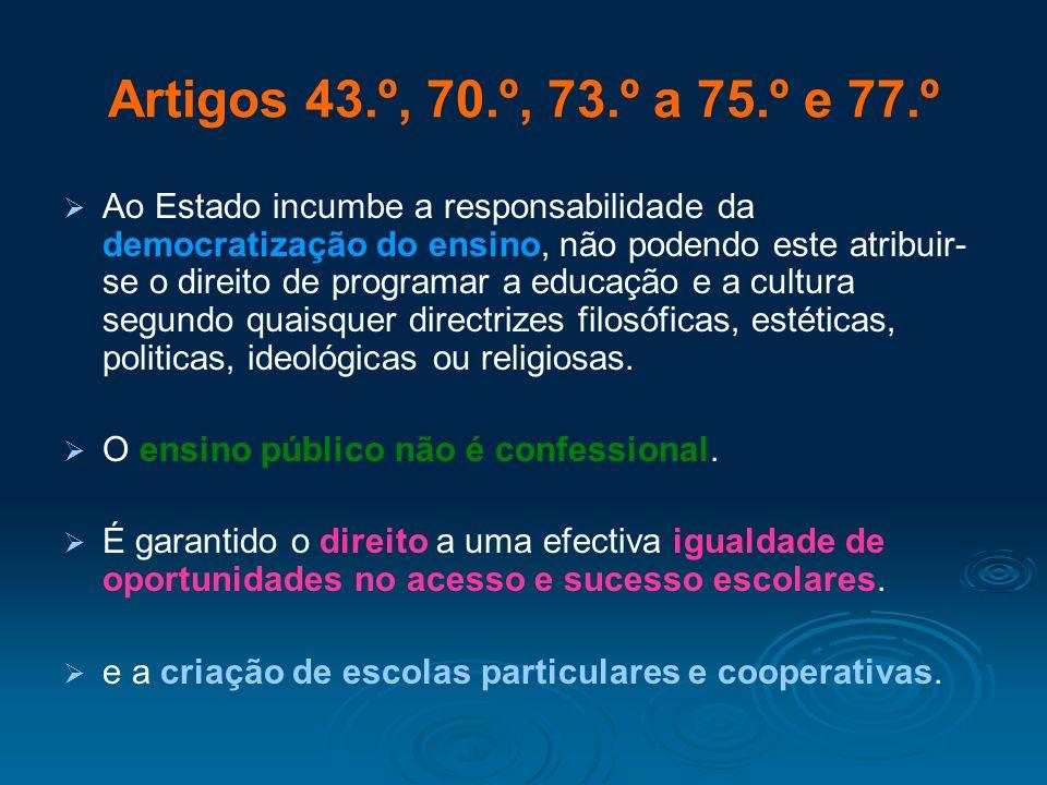 Artigos 43.º, 70.º, 73.º a 75.º e 77.º