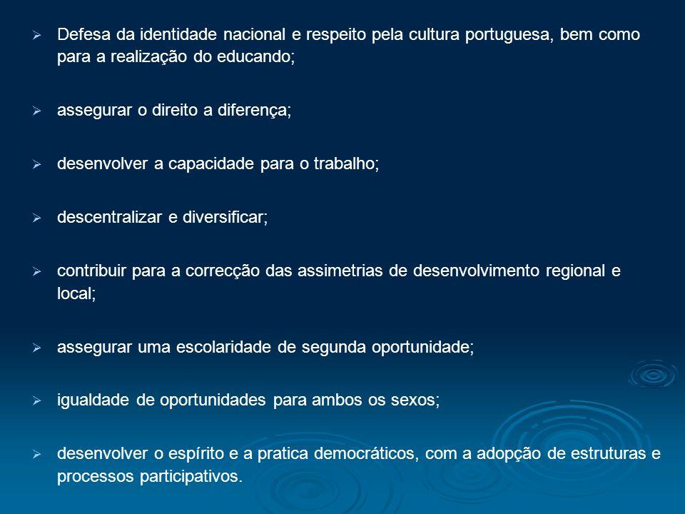 Defesa da identidade nacional e respeito pela cultura portuguesa, bem como para a realização do educando;