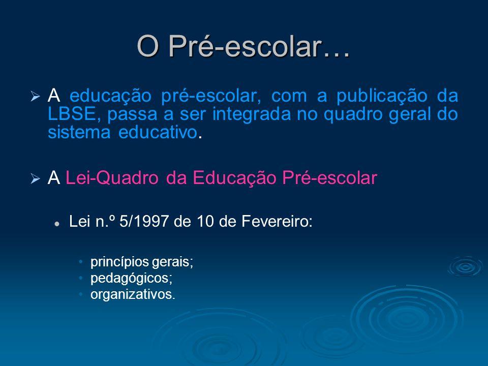 O Pré-escolar… A educação pré-escolar, com a publicação da LBSE, passa a ser integrada no quadro geral do sistema educativo.