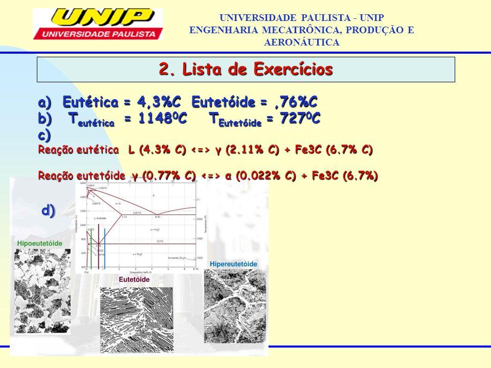 2. Lista de Exercícios Eutética = 4,3%C Eutetóide = ,76%C