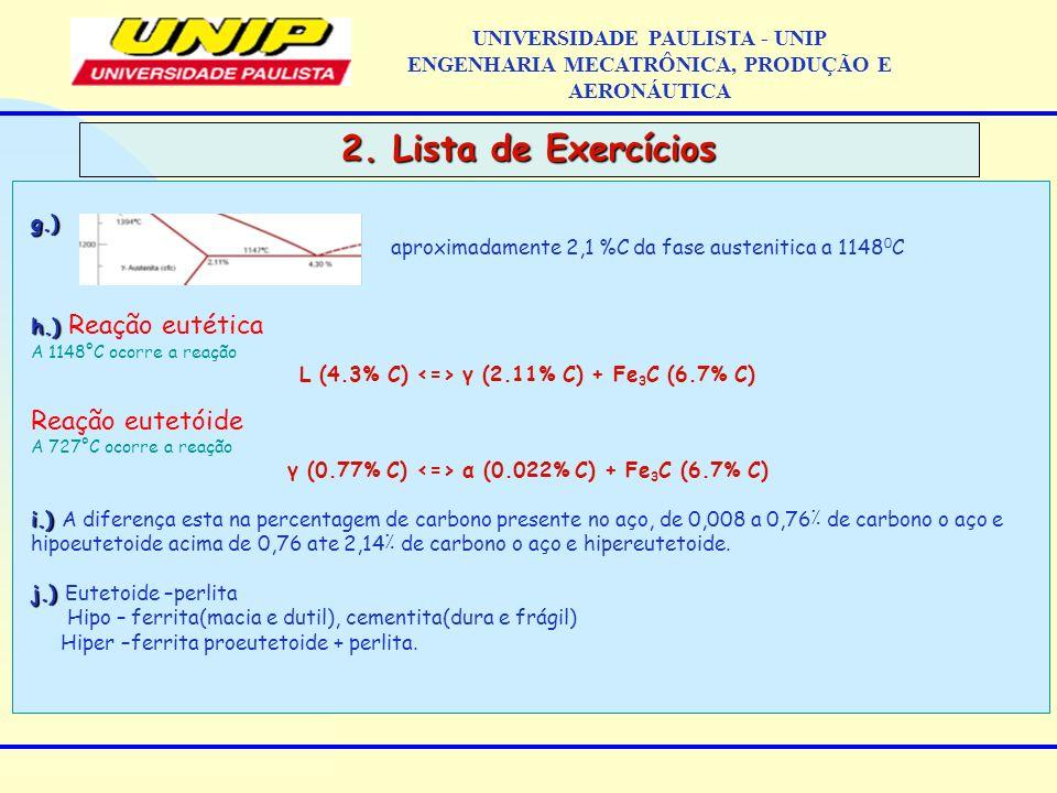 2. Lista de Exercícios Reação eutetóide UNIVERSIDADE PAULISTA - UNIP