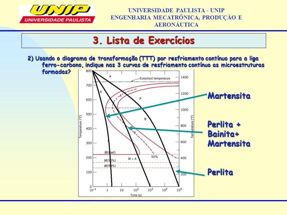 3. Lista de Exercícios Martensita Perlita + Bainita+ Martensita