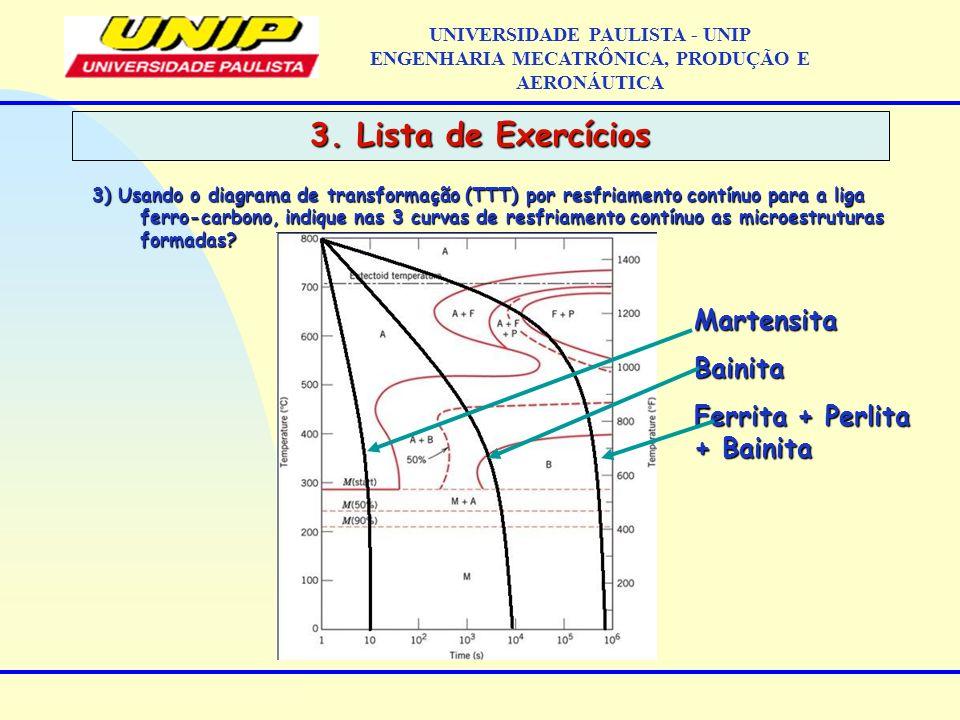 3. Lista de Exercícios Martensita Bainita Ferrita + Perlita + Bainita